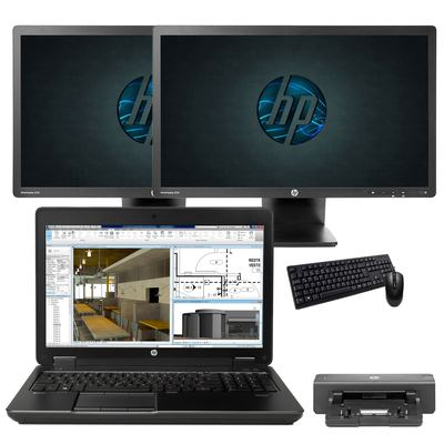 HP ZBook 15 G2 + 2x HP EliteDisplay E231 - Arbeitsplatzbundle